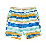 LACOFIA Kinder Badeshorts Jungen Casual Elastische Taille Badehose Kleinkind Strand Schwimmen Shorts Streifen 4 Jahre