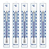 Lantelme 4086 Pack de 5 thermomètres analogiques intérieur / extérieur / jardin - en plastique - Blanc