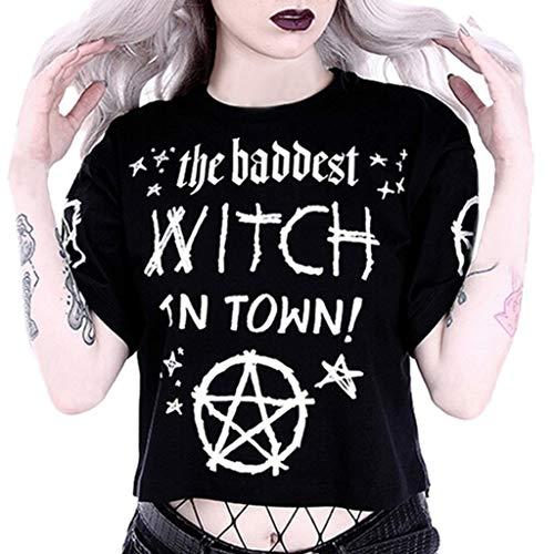 Amcool Damen Neu Gotisch Punk Tanktops V-Ausschnitt Hohl Weste Oben Sommer Sexy Goth T-Shirt Oversize Kleider Sommerkleid Kurze Gedruckt Vintage Bauchfrei Tops Oberteile