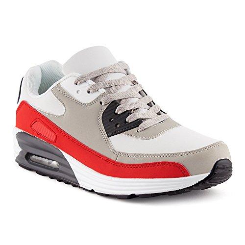 FiveSix Herren Damen Sportschuhe Dämpfung Sneaker Laufschuhe Rot/Grau/Weiss-M EU 44 (Top High Sportschuhe Sneaker)