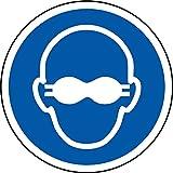 ISO Sicherheitsaufkleber Sign - Internationale Undurchsichtig Augenschutz muss Symbol getragen werden - selbstklebender Aufkleber 100mm Durchmesser