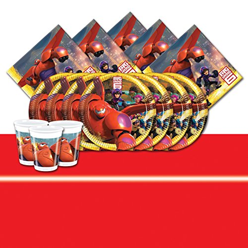 Official Disney Big Hero 6 Complete Party Supplies Kit for 16 Red Table Cover by Big Hero 6 - Party Big Hero Supplies 6