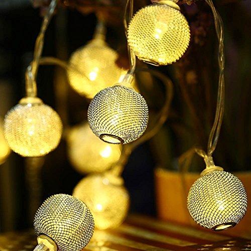 Golden Metal String Lights, Fairy Lichter für 20 LED Globe Höhle aus Glow Curtain, Hochzeit, Schlafzimmer, Dekor Saisonale Ambiente Lamp-Laterne