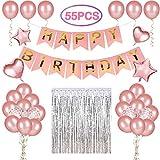 LEEHUR Globos OROS Rosas para Cumpleaños Fiesta Decoración para Cumpleaños con Globos de Aluminio de Corazónes y Estrellas, Bandera de Letra Happy Birthday para Chicas y Mujeres - 55 Piezas
