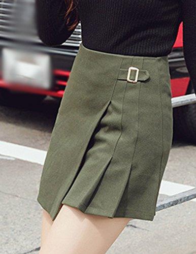 Donne Minigonna Gonna Elastico Collant Pieghe Colore Solido Vita Alta Gonne Verde