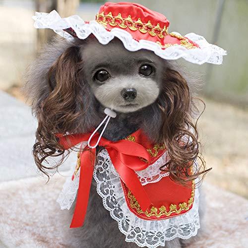 Gothic Kostüm Hunde - zhixing Haustier Katze Hund Gothic Lolita Red Lace Mantel mit Mütze Schwarz Halloween Cosplay Kostüme Outfit Für Kleine Mittlere Andere Haustiere Kaninchen Pudel Bulldog Pommerschen Corgi Kostüm