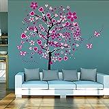 Kuke Wandtattoo Große Rosa Herz Baum Schmetterling Abnehmbare DIY Wand-Aufkleber Wandsticker für Kinder Mädchen Kinderzimmer (175 * 165cm)