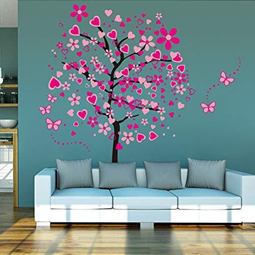 Kuke Wandtattoo Große Rosa Herz Baum Schmetterling Abnehmbare DIY Wand-Aufkleber Wandsticker für Kinder Mädchen Kinderzimmer (175 * 165cm) (Baum-wand-aufkleber Mädchen)