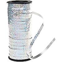 1 rouleau 100 verges du ruban de curling argenté, ruban de métier de borte pour la fleuriste d'emballage de cadeau de fête de partie