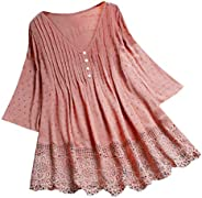 Women Long Sleeve T-shirt Dress ❀ Ladies Vintage Jacquard Three Quarter Lace V-Neck Plus Size Top T-Shirt Blou