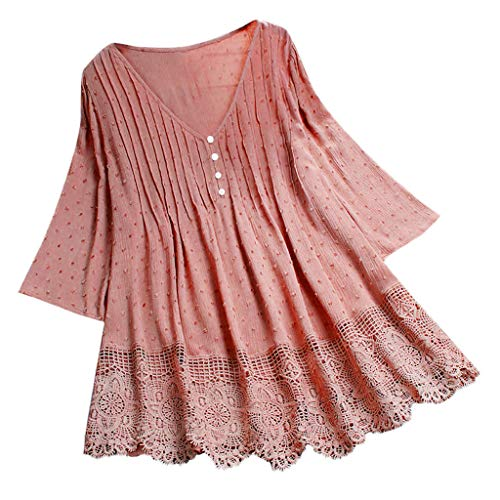 Overdose Sommer Oberteile Frauen Damen Vintage Jacquard Dreiviertel Spitze Saum V-Ausschnitt Casual Lose Tunika Tops T-Shirt Bluse Langarmshirt Plus Size
