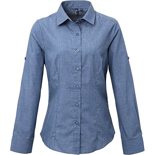 Premier Womens/Ladies Poplin Cross-Dye Roll Sleeve Corporate Shirt - Shirt Corporate
