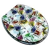 Jueven Asiento de Inodoro Creative Resin con diseño en dólares estadounidenses, Asiento de Inodoro de Resina de urea formaldehído silencioso Superior Resistente al Desgaste (Color : Locked Below)