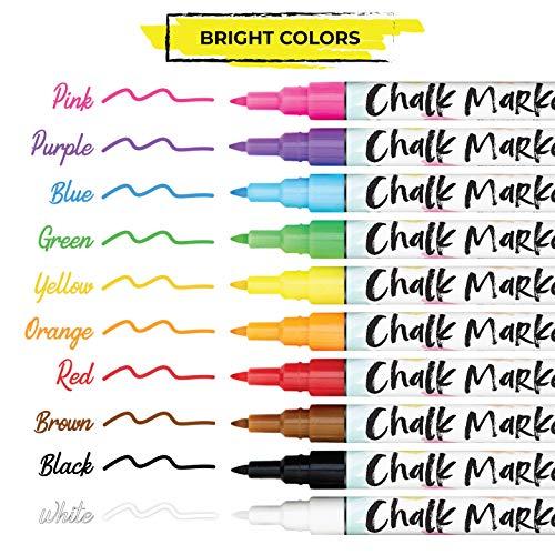 Chalkola 10 extra feine Neon Kreidestifte für Tafel & Fenster 1mm | Ideal als Fensterstifte, Kreidestift, Kreidemarker, Folienstift, Glasmalstifte & Whiteboard Marker | Feucht abwischbar