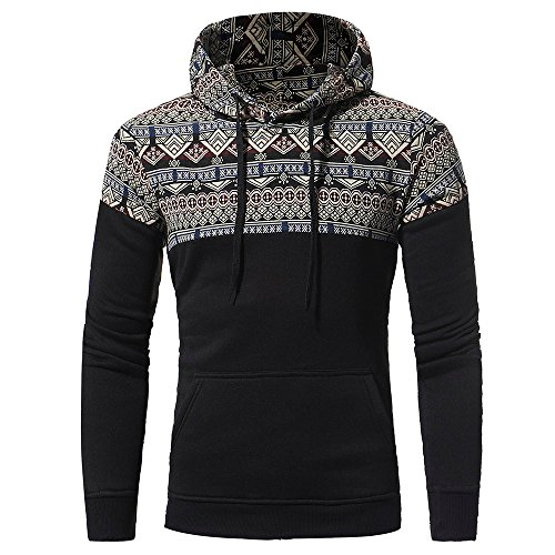 IMJONO Herrenkleidung Men Retro Long Sleeve Hoodie Hooded Sweatshirt Tops Jacket Coat Outwear(Medium,Schwarz)