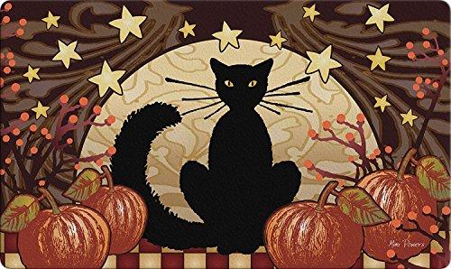 Liuzhis Moonlight Cat Decorative Halloween Floor Mat Kitty Pumpkin Doormat 15.7W*23.6L inch (15 Halloween Floor)