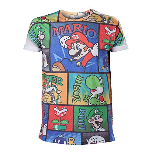 NINTENDO Super Mario Bros Mario and Friends All-Over Cómic Imprimir l