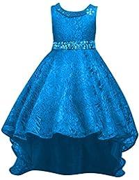Qitun Fiore Ragazze Bambina Senza Maniche Abiti da Cerimonia Eleganti  Principessa Partito Matrimonio Comunione Compleanno Vestiti 411670b8a40