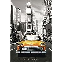 """Póster New York Taxi """"Yellow Cab/ Taxi amarillo"""", sepia (61cm x 91,5cm) + 2 marcos negros para póster con suspención"""
