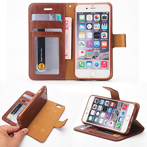JIALUN-Telefon Fall Verrückte Pferd Textur Flip Stand Fall Wallet Beutel Case Cover mit Card Slots & Abnehmbare Back Cover für iPhone 6 & 6s ( Color : Green ) Brown