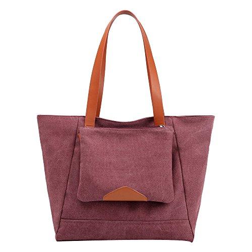 Tohole Zweiteiliges Set Damen Frauen Handtasche Leinwand Tasche Handtaschen Groß Schule Schultertasche Umhängetasche Tragetaschen(Wein)