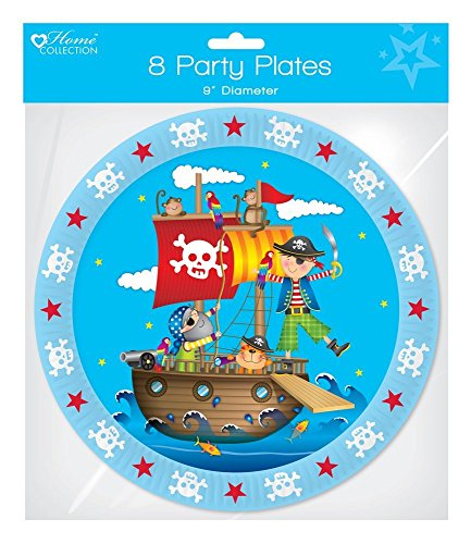 Pirate Party Children's Happy Birthday Party Disposable Paper Plates Blue Blue Plate