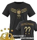 Kinder Fußball T-Shirt bedruckbar - WUNSCHNAME & NUMMER - WM / EM / DEUTSCHLAND - Rundhals Tshirt für Mädchen & Jungen in Schwarz - Deutschland Trikot in div. Größen