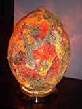 Stylish Glass Mosaic, Egg Shaped Table Lamp - Red