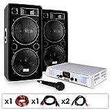 DJ PA Anlage DJ-21 DJ Verstärker PA Boxen Kabel 2000W