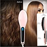 #9: Styleys Ceramic Hair Straightening Brush Hair Straightener LCD Display Electric Heating Straightener