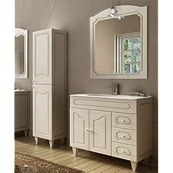 c12df098b40e Mobile bagno a terra moderno Caravaggio effetto decapè, misura cm 90, con  specchio e applique, lavabo e colonna