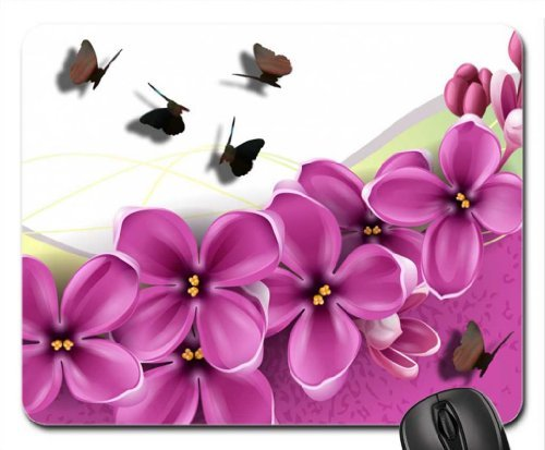 Lilacs and Shadow Butterflies Mouse Pad, Mousepad (Flowers Mouse Pad) -