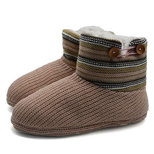 KuaiLu Damen Slipper-Stiefel Gestrickte pelzige Drinnen/Draußen Hausschuhe gemütliche Slouch Pantoffeln -