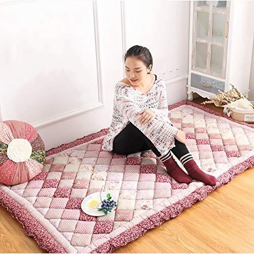 LoveLife Tatami Bodenmatratze Matratze,100% Baumwolle Vier Jahreszeiten Blume Kinder Baby Teppich Nicht-Slip Folding Multifunktion Crawling Mat Ground Mat Bay Window Pad-rote 110x200cm(43x79inch) (100 Baumwolle Matratze Pad)