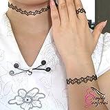 Black Stretch Retro Weinlese-Halskette, Bracelet & Ring Set