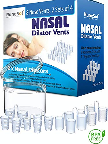 Nasendilatatoren 8x Nasenspreizer Anti-Schnarchmittel Schnarchstopper 8-er Pack Verschiedene Größen | Dilator hilft gegen Schnarchen, Schlafapnoe & Nasenstauung | Inkl. Aufbewahrungsb