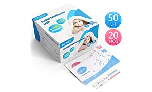 HOMIEE Kits de Tests de Ovulación y Fertilidad, Pruebas De Embarazo De Alta Sensibilidad, Para Deteccion Temprana, Alta Fiabiidad (50pc LH+20pc HCG) PT1070