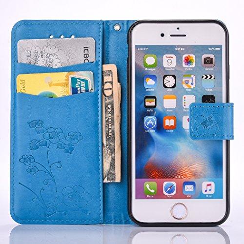 Etsue pour iPhone 6 Plus,6S Plus Cuir Flip Coque ,Premium Folio Portefeuille Style Case pour iPhone 6 Plus,6S Plus,Fleur Relief Motif Modèle avec Carte de Visite Dossier Fonction et Gratuit Lanière Ho Bleu