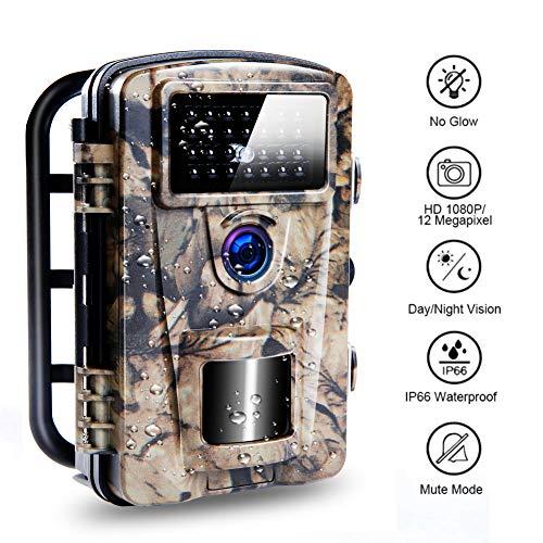 Wildkamera mit 0.2s Triggergeschwindigkeit, verbesserte Wasserdichte IP66 nachtsichtkamera, eingebaute 27pcs Low Glow 940nm LEDs Jagdkamera Perfekt für Nachtsicht und Sicherheit im Haus | 12MP | 65ft