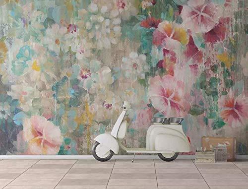 Carta da parati adesiva muro 3d minimalista vintage floreale dipinto a mano fotomurali 3d photo wallpaper moderna murale