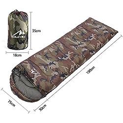 FYX Saco de Dormir Bolsa del Camuflaje por Temporada -10o, 210cm x 75cm para Viajes, Camping, Senderismo, Escalada (Verde del ejercito), Otras Actividades del Aire Libre
