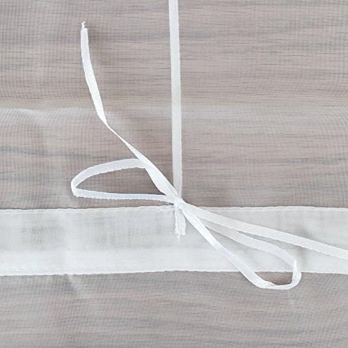 1er-Pack Raffrollo mit Schlaufen Gardinen Voile Transparent Vorhang (BxH 140x155cm, weiß) - 4