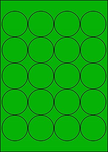 100 Etiketten Farbetiketten selbstklebend rund 50 mm GRÜN permanent klebend auf Bogen A4 (5 Bögen x 20 Etik.)
