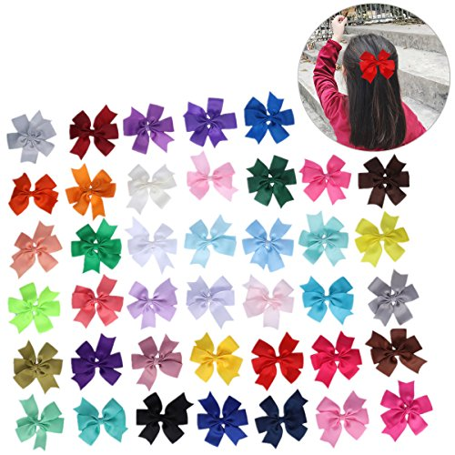Frcolor Haarbögen Clips, Grosgrain Ribbon Pinwheel Boutique Haar Bögen für Babys Teens Kleinkinder Kinder, 40St (Bögen Für Haar-für Teens)
