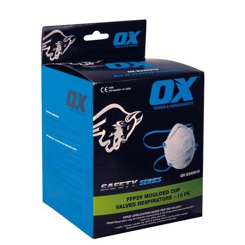 OX ox-s240910FFP2V Moulded Cup Respiratore/valvola, 0V, blu