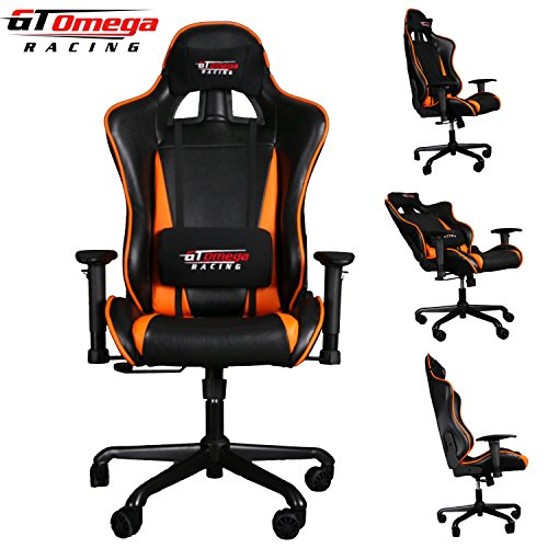 GT OMEGA PRO RACING OFFICE CHAIR BLACK With Orange LEATHER