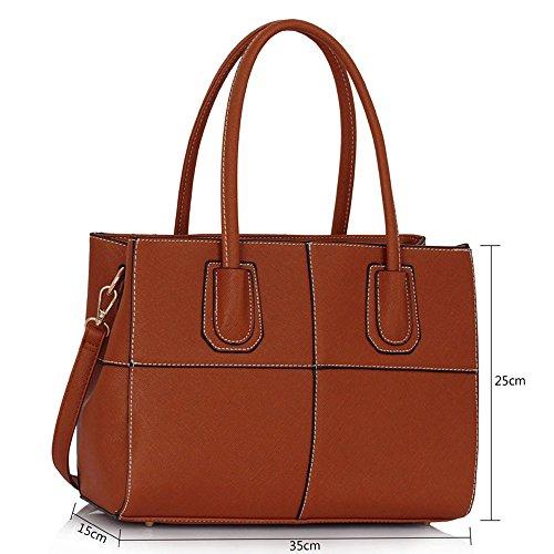 TrendStar Damen Handtaschen Damen Mode Patent greifen für Leinentrage Schulter Taschen Imitat Leder Entwerfer Braun