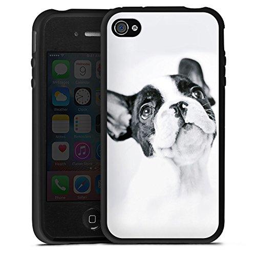 DeinDesign Silikon Hülle kompatibel mit Apple iPhone 4s Case Schutzhülle Hund Bulldogge Dog (Silikon 4s Hülle Hund Iphone)