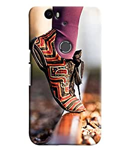 Omnam Shoe Lying On Rail Track Printed Designer Back Cover Case For Google Nexus 6P