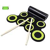 Rockpals Elektronisches Schlagzeug, Drum Set, Roll Up Schlagzeug Midi Drum Kit mit Kopfhörer und eingebaute Lautsprecher Drum Pedals und Sticks, bis zu 10St. Spielzeit, Weihnachtsgeschenk für Kinder (7Pads-Grün)